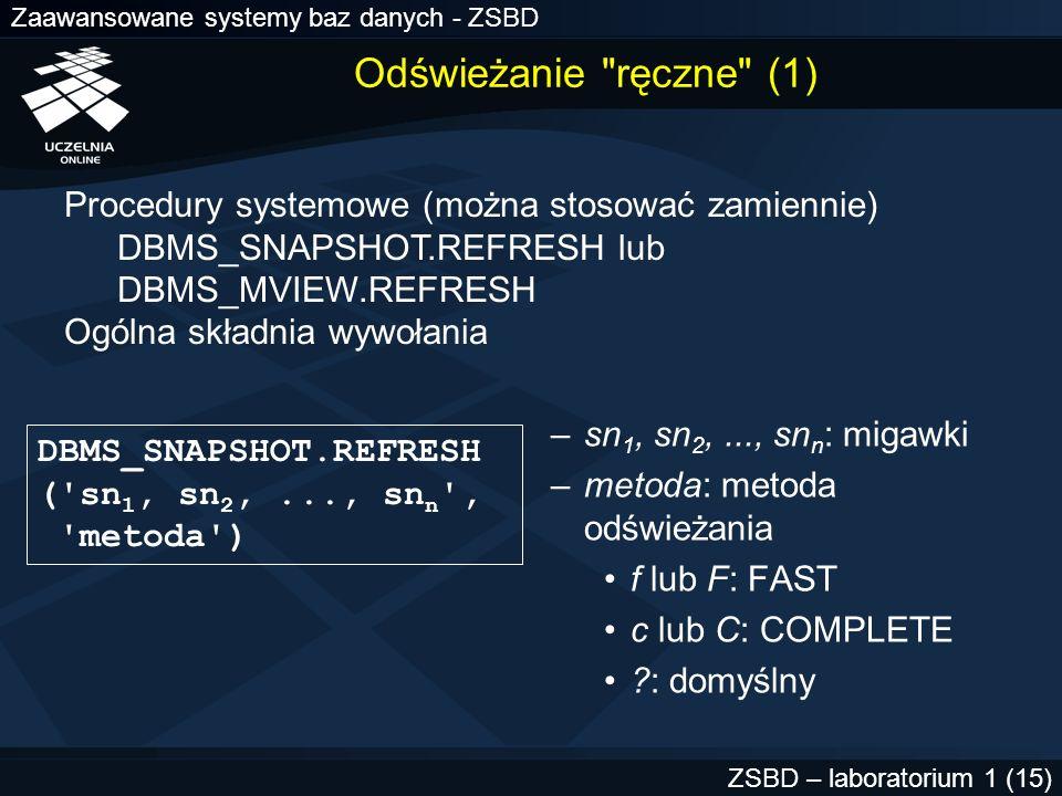 Odświeżanie ręczne (1) Procedury systemowe (można stosować zamiennie) DBMS_SNAPSHOT.REFRESH lub.