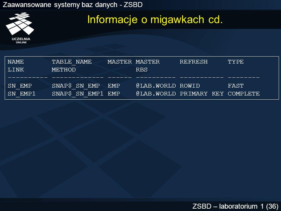 Informacje o migawkach cd.