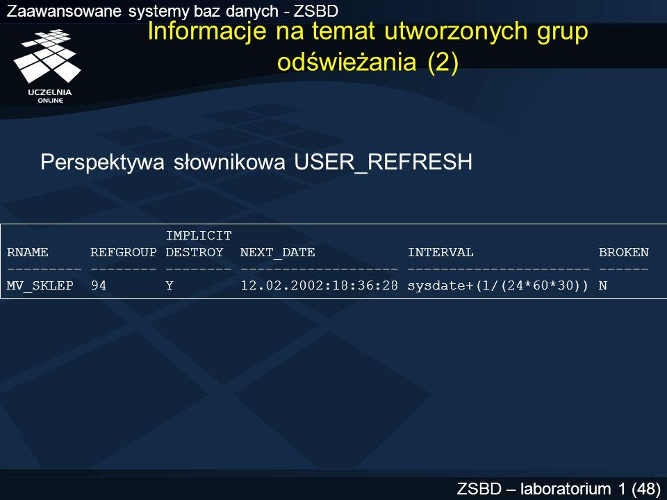 Informacje na temat utworzonych grup odświeżania (2)