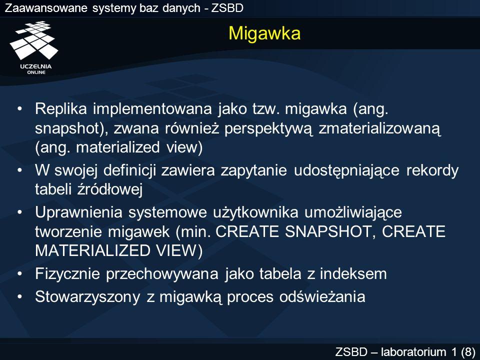 Migawka Replika implementowana jako tzw. migawka (ang. snapshot), zwana również perspektywą zmaterializowaną (ang. materialized view)