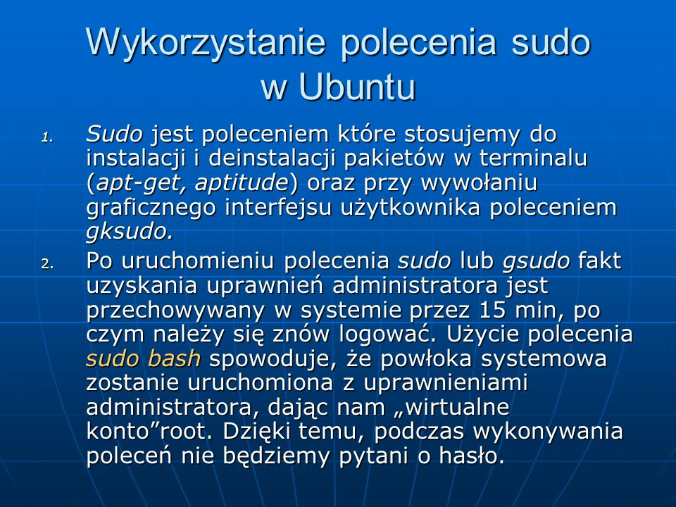 Wykorzystanie polecenia sudo w Ubuntu