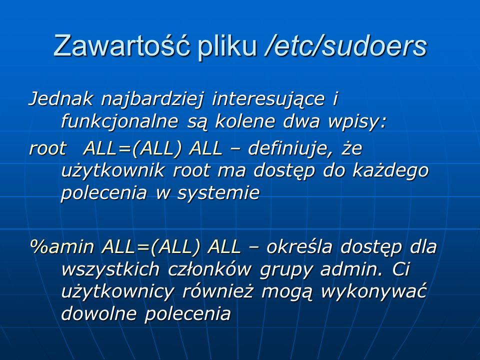 Zawartość pliku /etc/sudoers