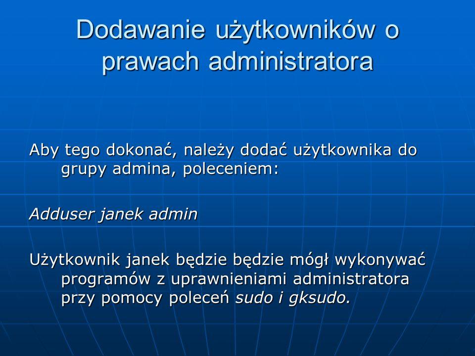 Dodawanie użytkowników o prawach administratora