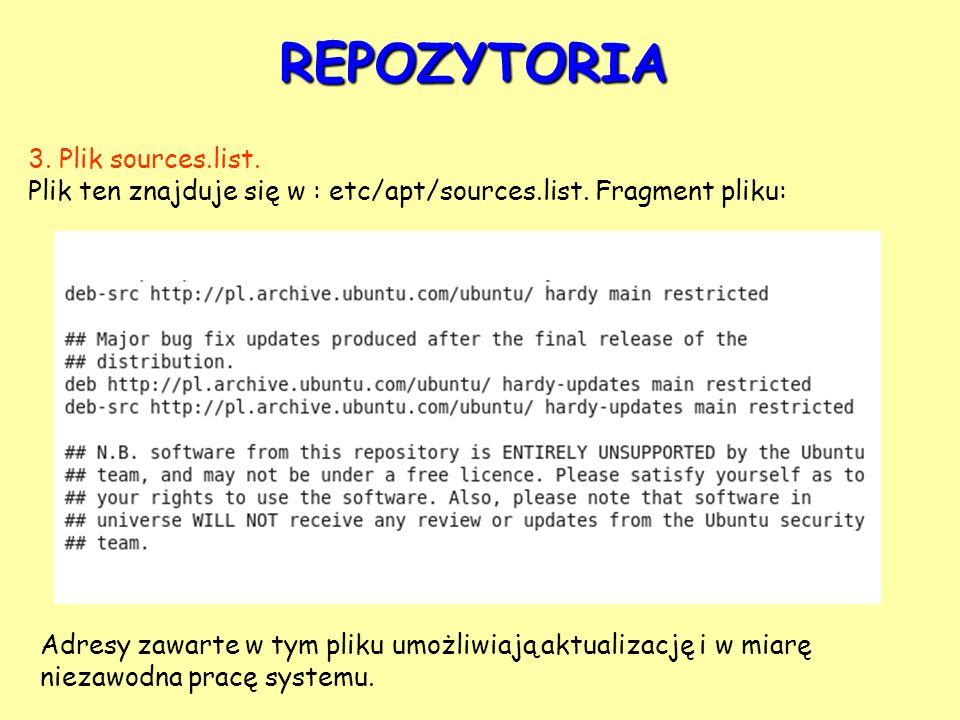 REPOZYTORIA 3. Plik sources.list.