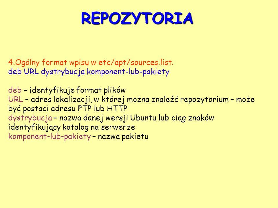 REPOZYTORIA 4.Ogólny format wpisu w etc/apt/sources.list.