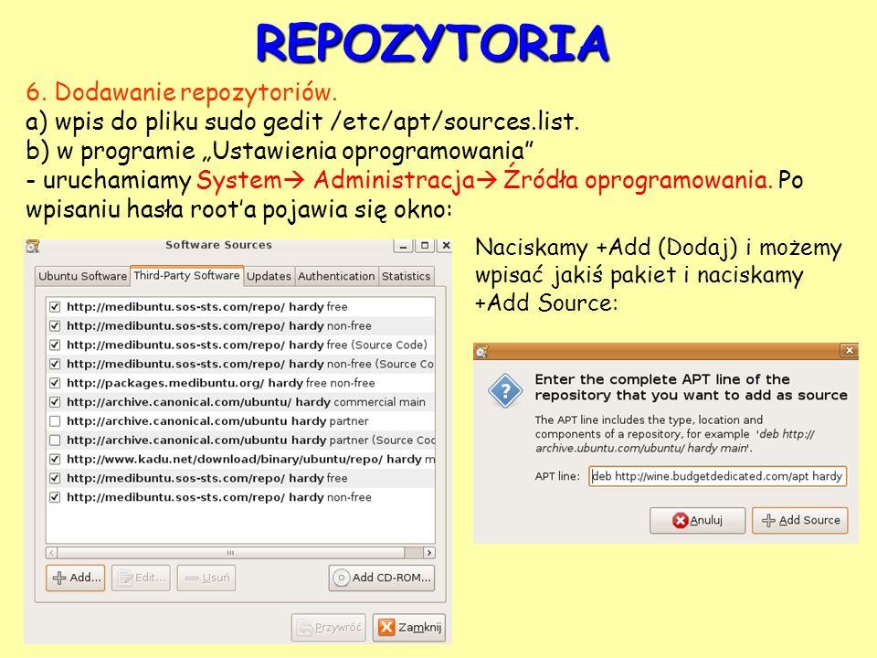 REPOZYTORIA 6. Dodawanie repozytoriów.