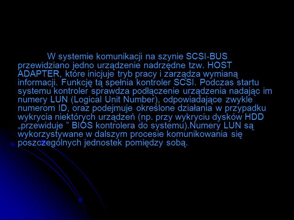 W systemie komunikacji na szynie SCSI-BUS przewidziano jedno urządzenie nadrzędne tzw.