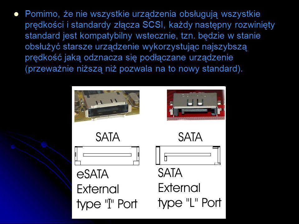 Pomimo, że nie wszystkie urządzenia obsługują wszystkie prędkości i standardy złącza SCSI, każdy następny rozwinięty standard jest kompatybilny wstecznie, tzn.