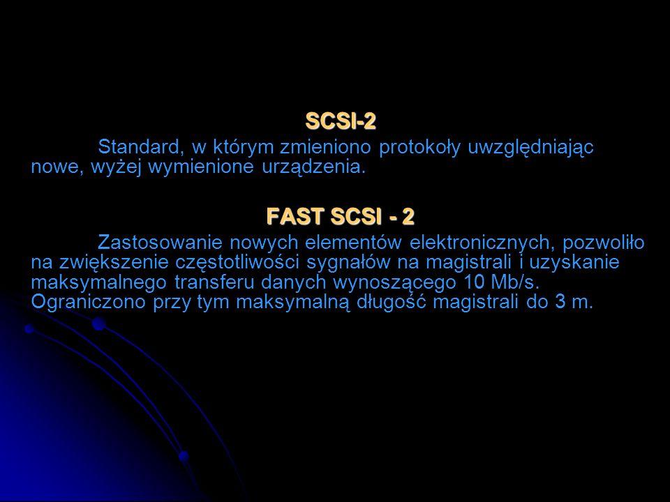 SCSI-2Standard, w którym zmieniono protokoły uwzględniając nowe, wyżej wymienione urządzenia. FAST SCSI - 2.