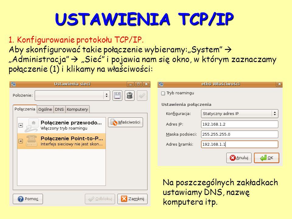 USTAWIENIA TCP/IP 1. Konfigurowanie protokołu TCP/IP.