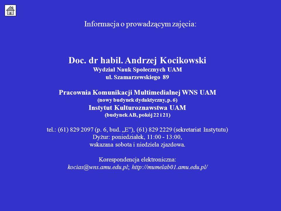 Informacja o prowadzącym zajęcia: