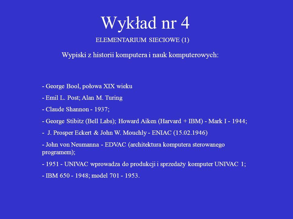 Wykład nr 4 Wypiski z historii komputera i nauk komputerowych: