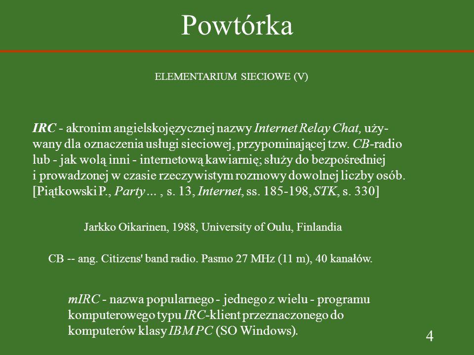 Powtórka ELEMENTARIUM SIECIOWE (V) IRC - akronim angielskojęzycznej nazwy Internet Relay Chat, uży-