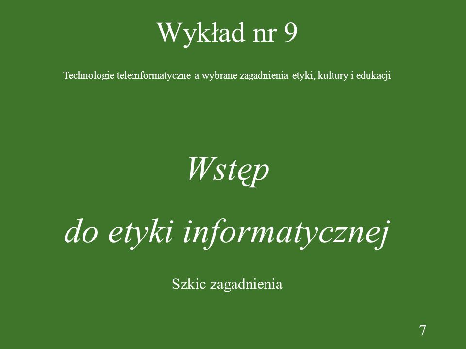 do etyki informatycznej