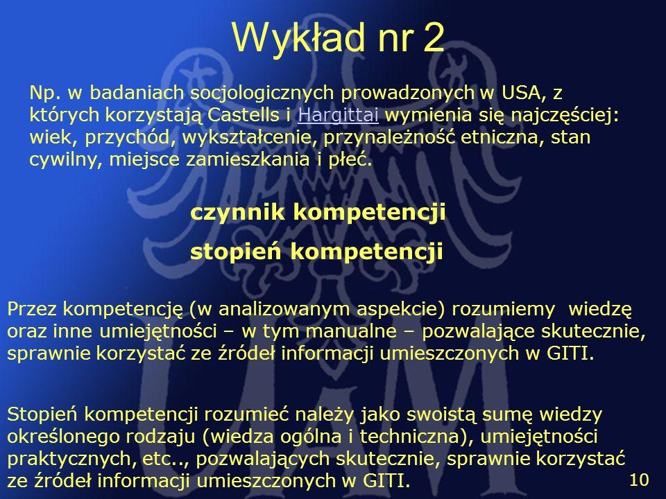 Wykład nr 2 czynnik kompetencji stopień kompetencji