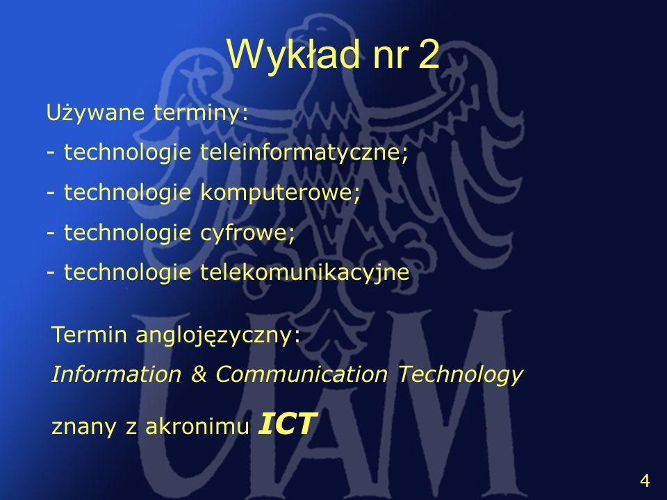 Wykład nr 2 Używane terminy: - technologie teleinformatyczne;