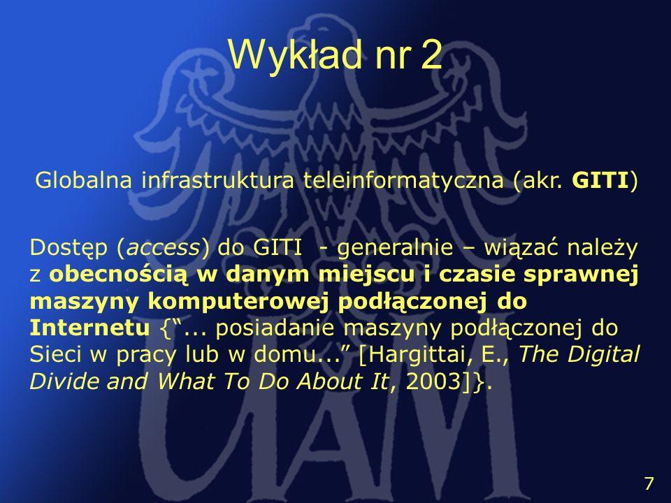 Wykład nr 2 Globalna infrastruktura teleinformatyczna (akr. GITI)