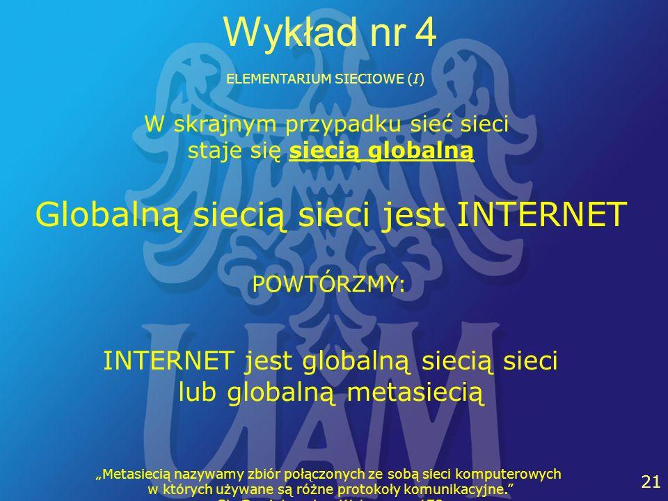 Wykład nr 4 Globalną siecią sieci jest INTERNET