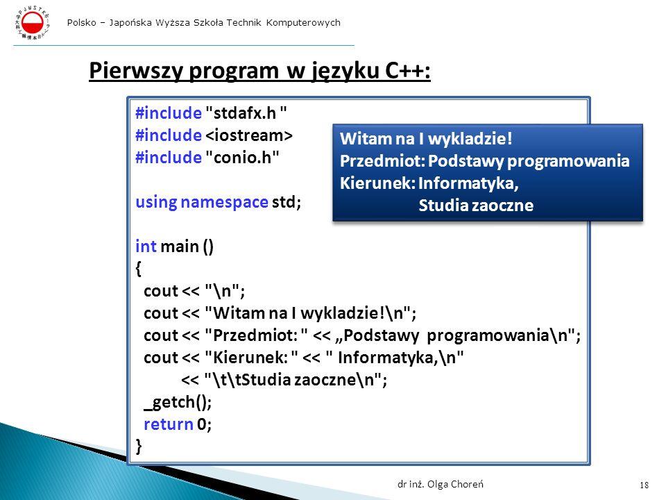 Pierwszy program w języku C++: