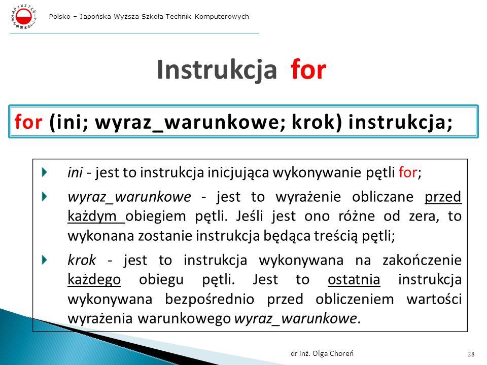 Instrukcja for for (ini; wyraz_warunkowe; krok) instrukcja;