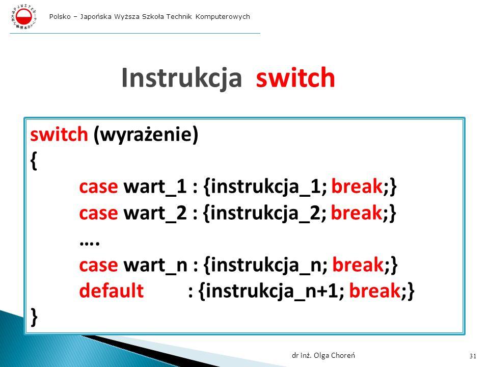 Instrukcja switch switch (wyrażenie) { }