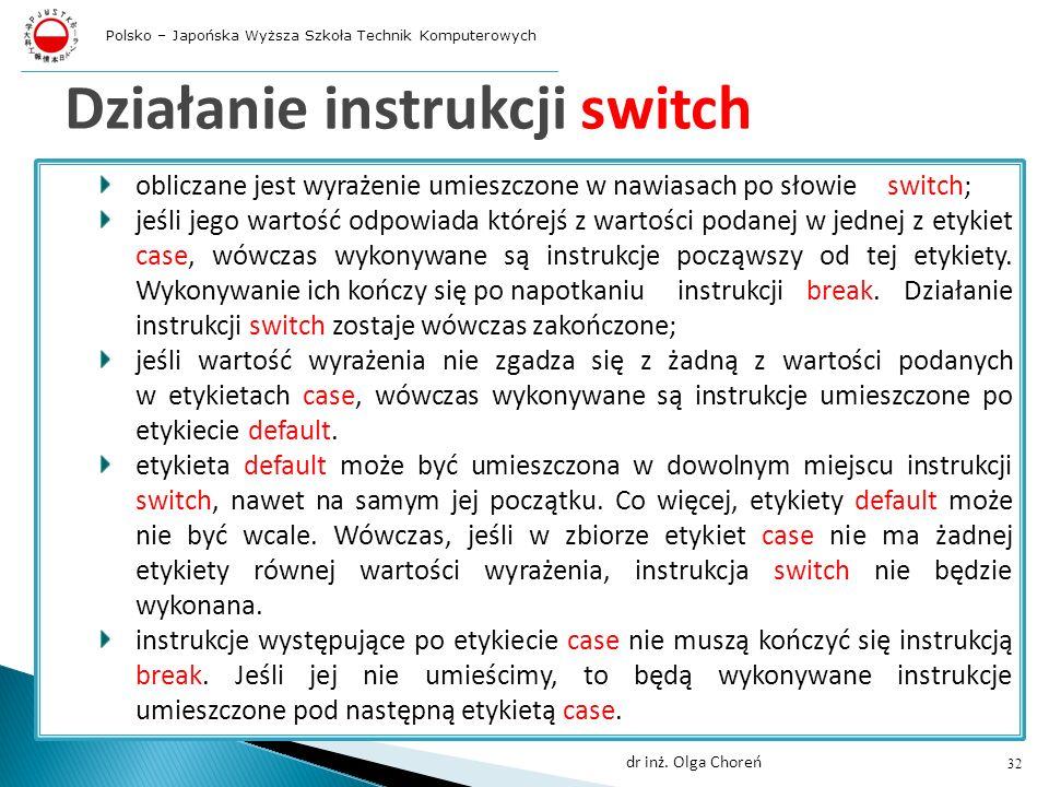 Działanie instrukcji switch