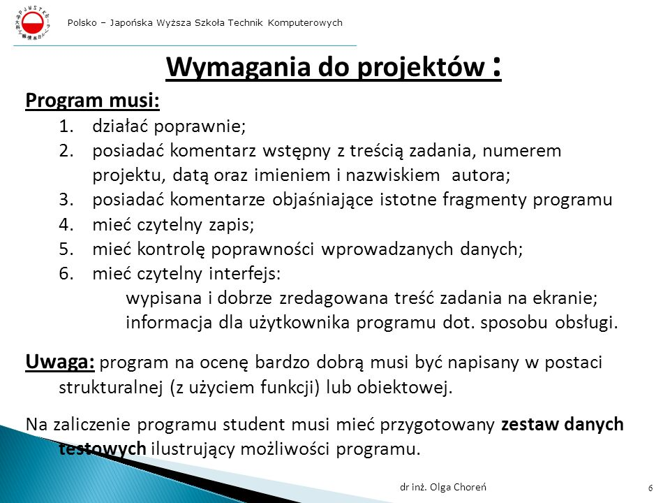 Wymagania do projektów :