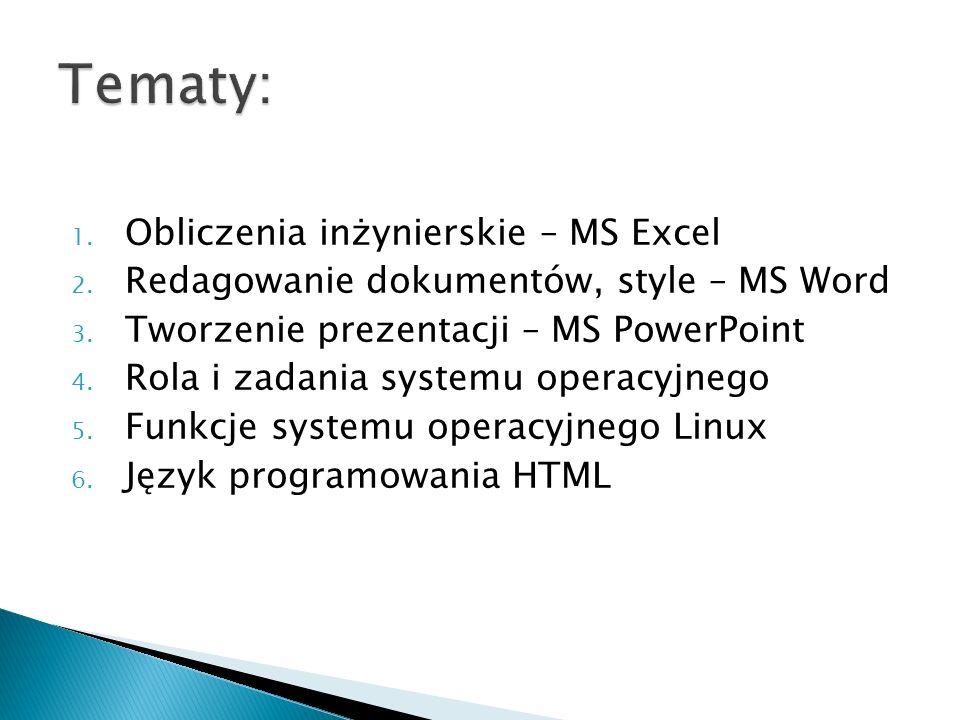 Tematy: Obliczenia inżynierskie – MS Excel