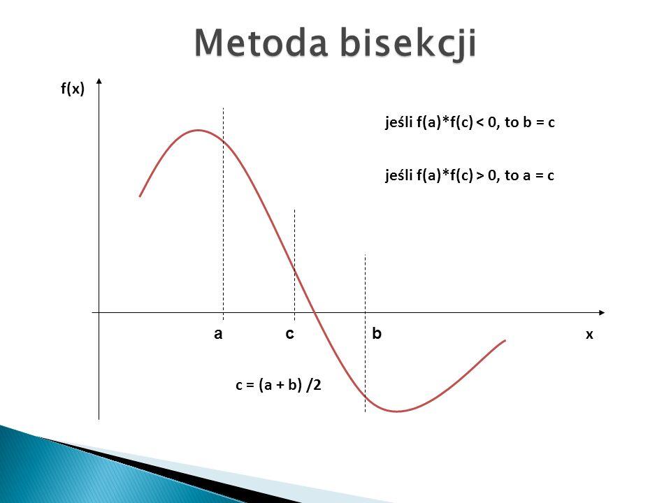 jeśli f(a)*f(c) < 0, to b = c jeśli f(a)*f(c) > 0, to a = c