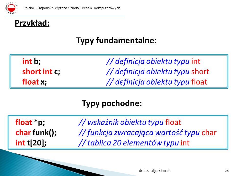 Przykład: Typy fundamentalne: Typy pochodne: