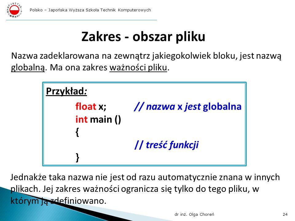 Zakres - obszar pliku Przykład: float x; // nazwa x jest globalna