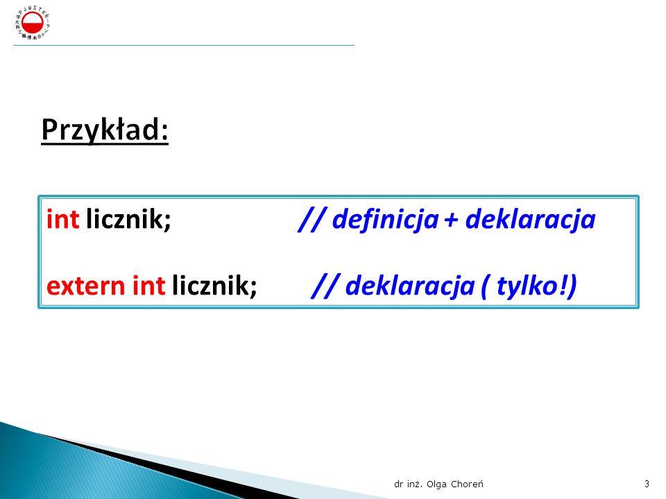 Przykład: int licznik; // definicja + deklaracja
