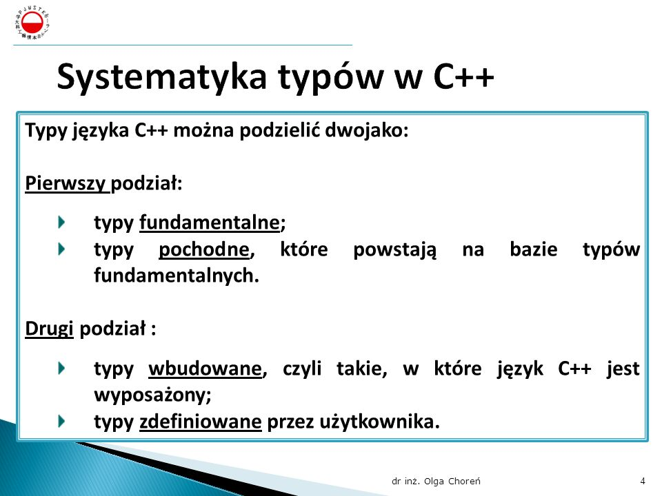 Systematyka typów w C++