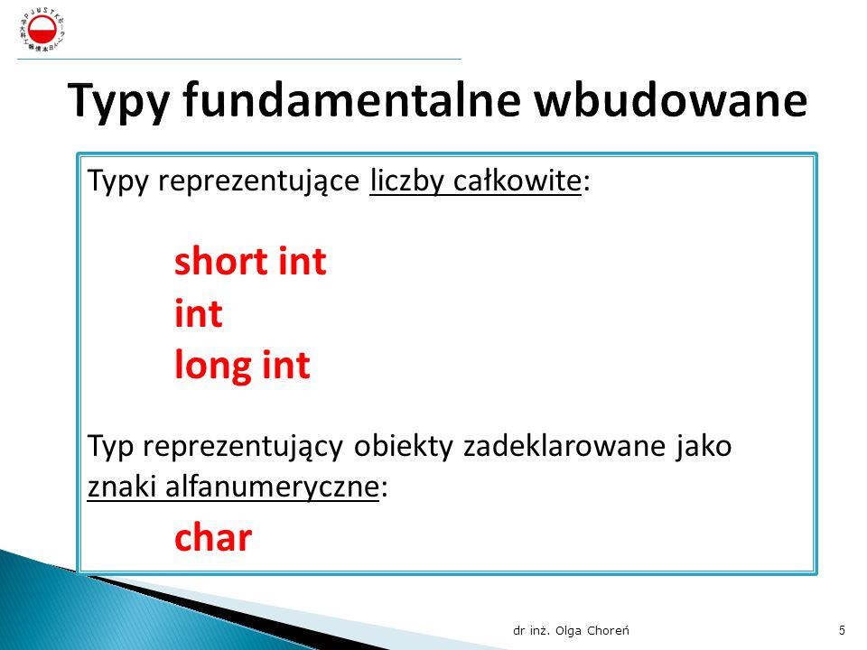 Typy fundamentalne wbudowane