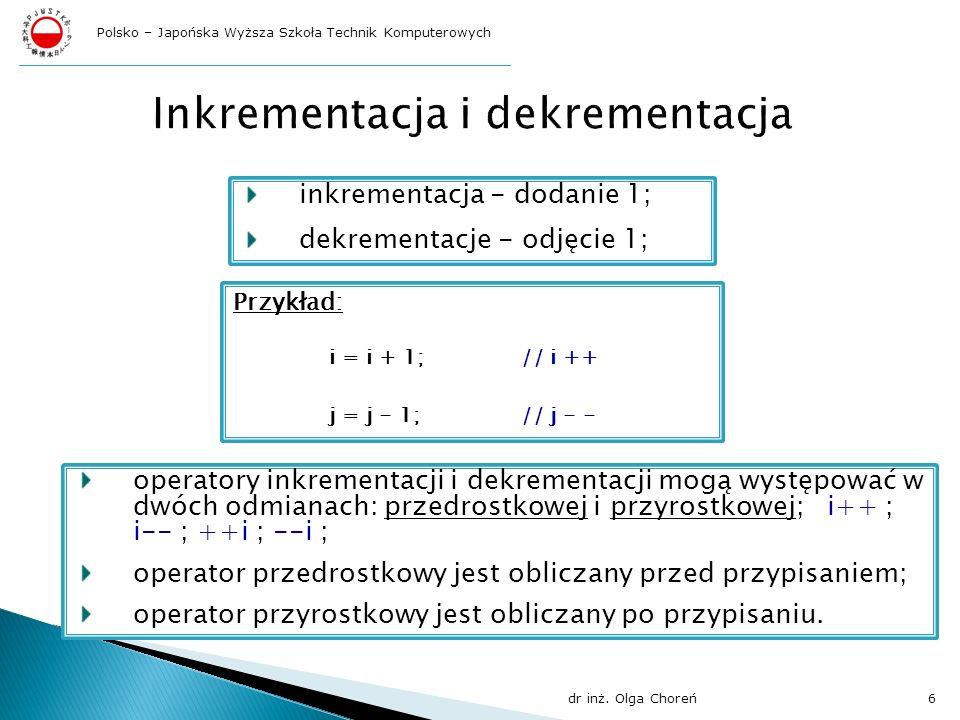 Inkrementacja i dekrementacja
