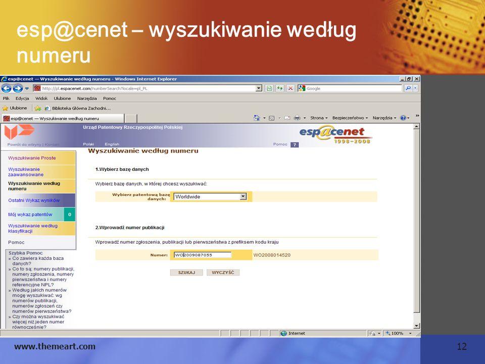 esp@cenet – wyszukiwanie według numeru