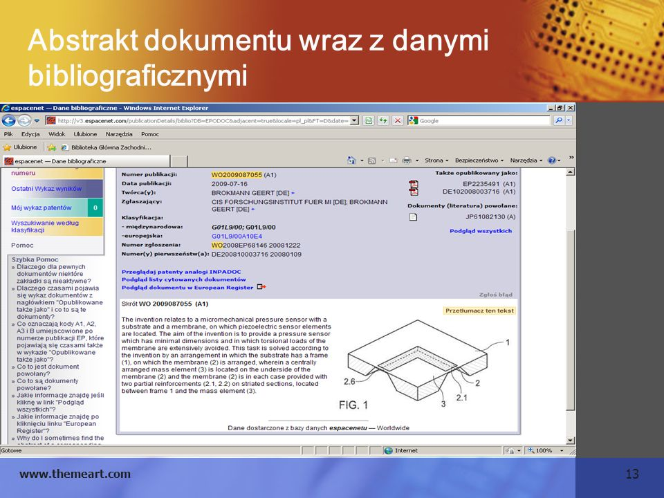 Abstrakt dokumentu wraz z danymi bibliograficznymi