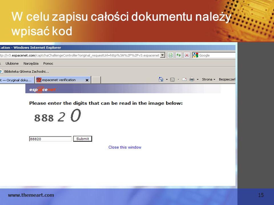 W celu zapisu całości dokumentu należy wpisać kod