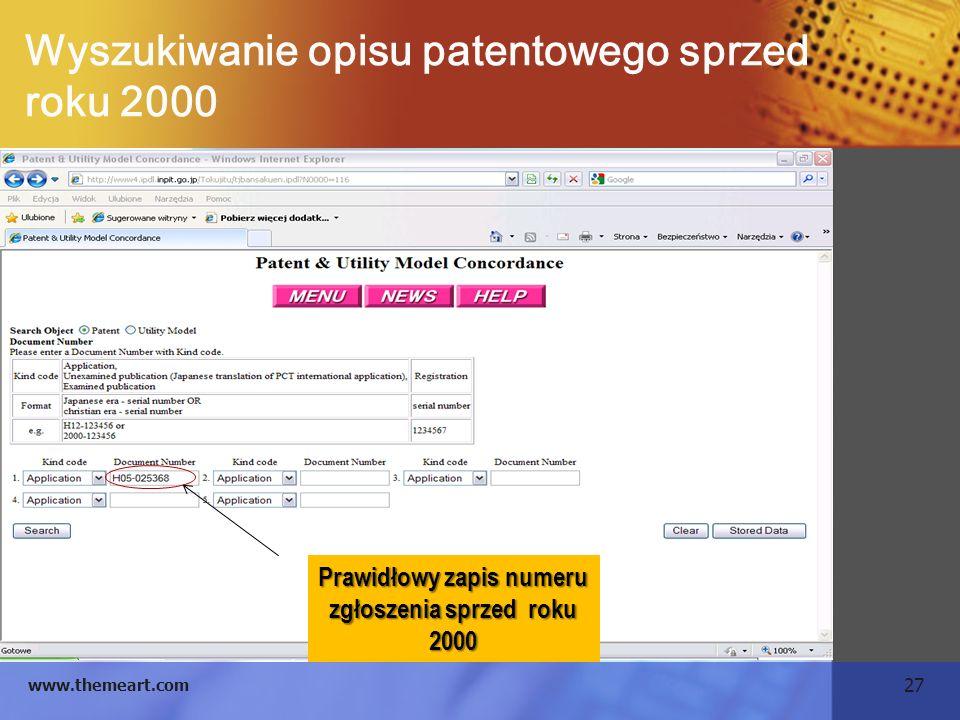 Wyszukiwanie opisu patentowego sprzed roku 2000