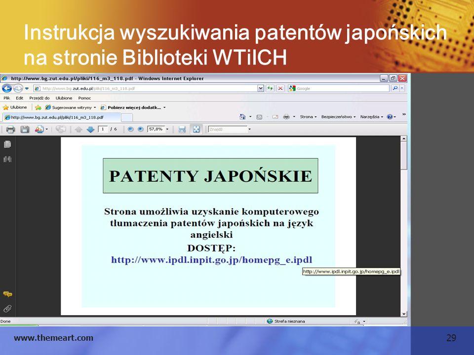 Instrukcja wyszukiwania patentów japońskich na stronie Biblioteki WTiICH