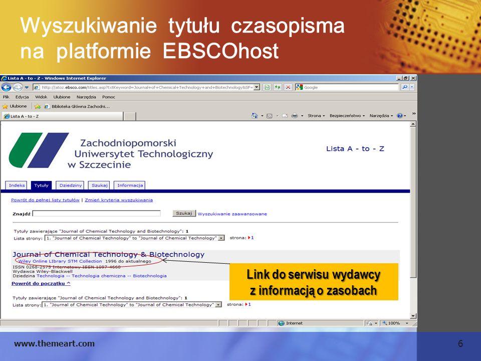 Wyszukiwanie tytułu czasopisma na platformie EBSCOhost
