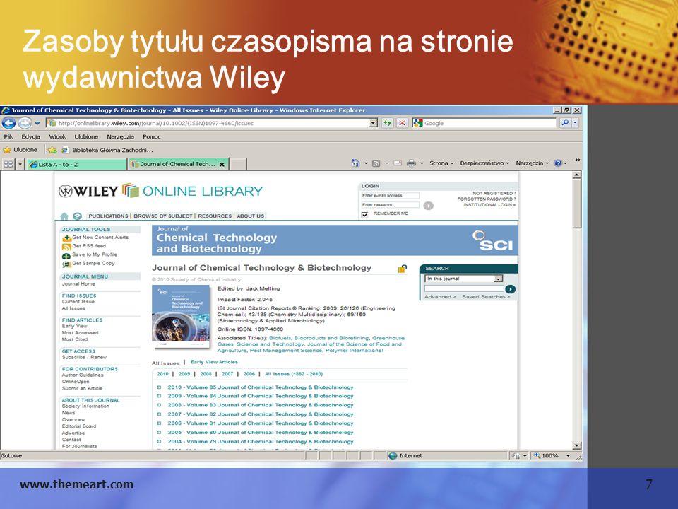 Zasoby tytułu czasopisma na stronie wydawnictwa Wiley