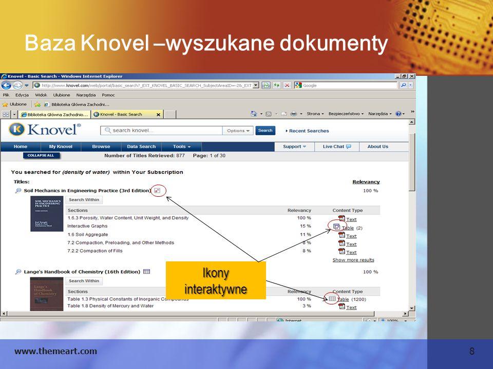 Baza Knovel –wyszukane dokumenty