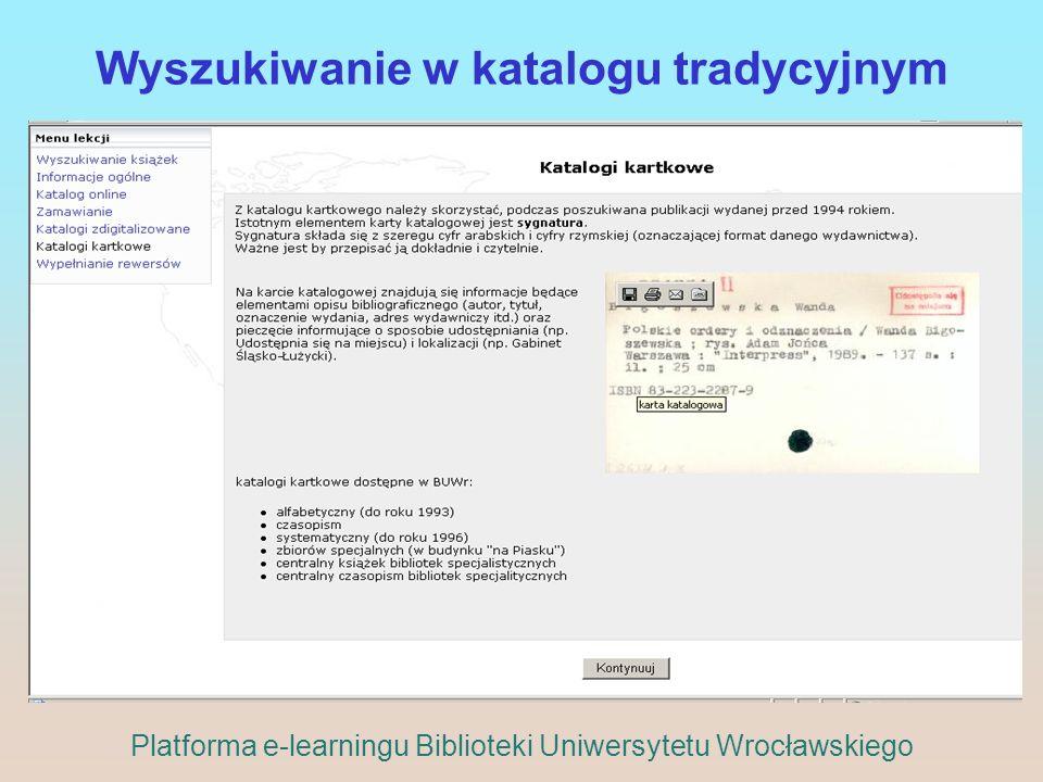 Wyszukiwanie w katalogu tradycyjnym