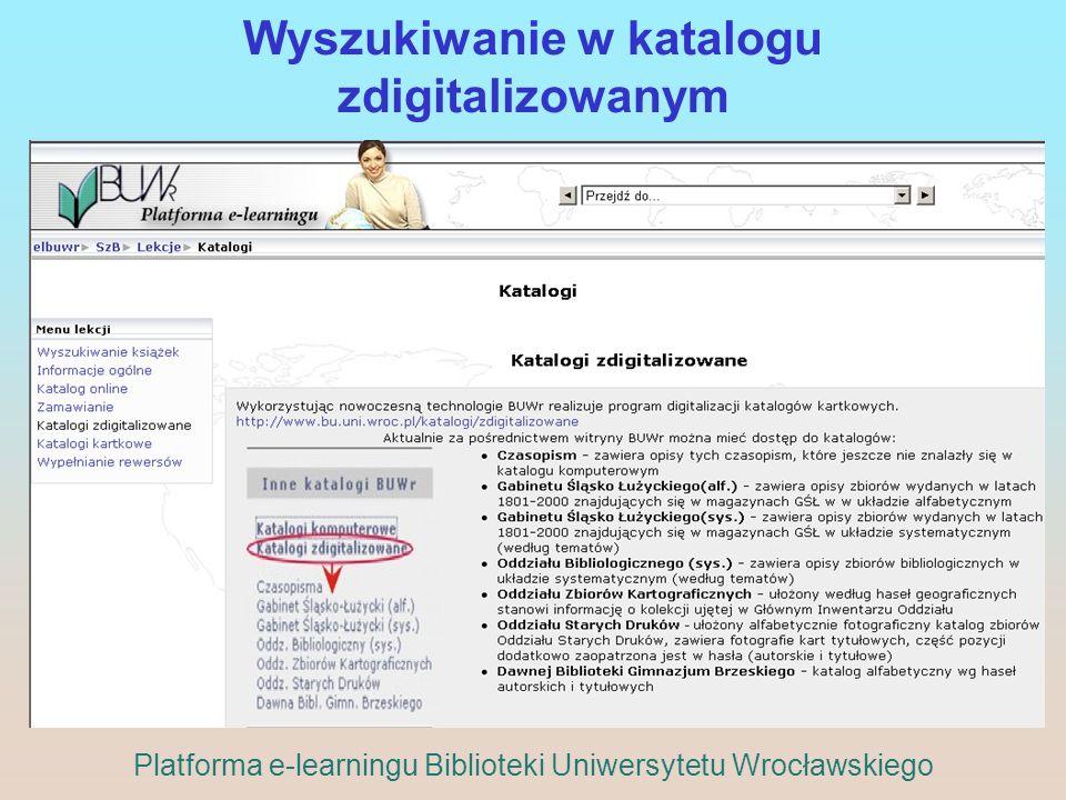Wyszukiwanie w katalogu zdigitalizowanym