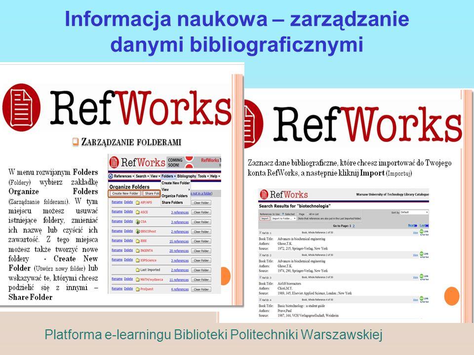 Informacja naukowa – zarządzanie danymi bibliograficznymi