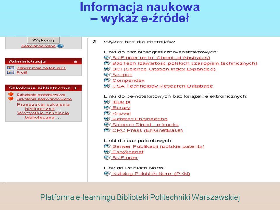 Informacja naukowa – wykaz e-źródeł
