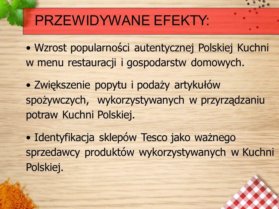 PRZEWIDYWANE EFEKTY:Wzrost popularności autentycznej Polskiej Kuchni w menu restauracji i gospodarstw domowych.