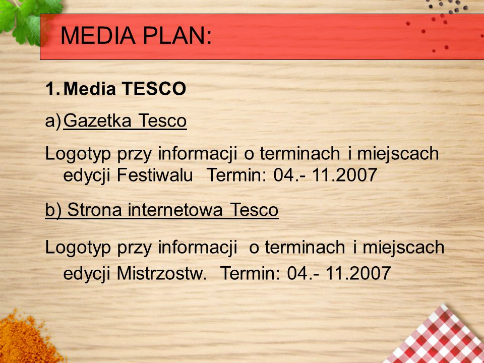 MEDIA PLAN: Media TESCO Gazetka Tesco