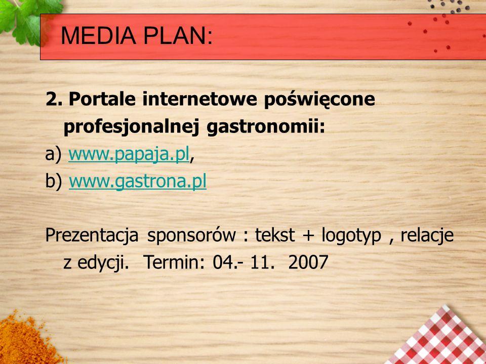 MEDIA PLAN: 2. Portale internetowe poświęcone profesjonalnej gastronomii: a) www.papaja.pl, b) www.gastrona.pl.